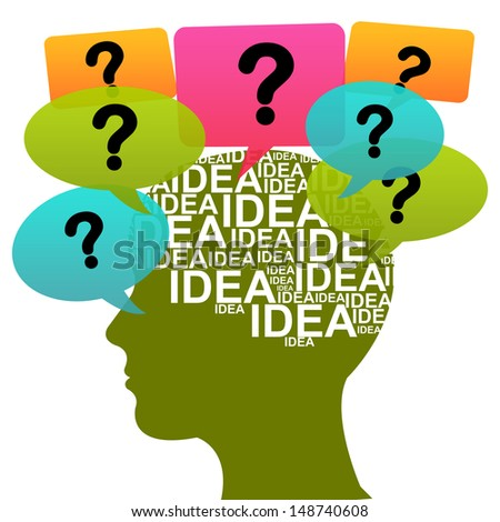 Business Idea Solution Concept Present by Green Head With Idea in Brain and Colorful Question Balloon Around Isolated on White Background  - stock photo