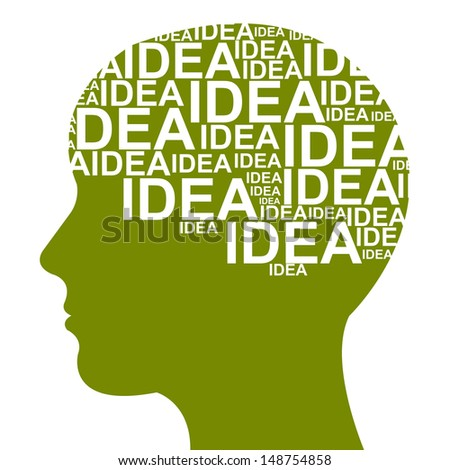 Business Idea Solution Concept Present by Green Head With Idea Text in Brain Isolated on White Background  - stock photo