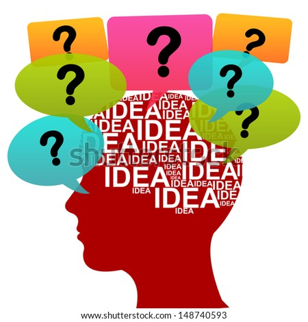 Business Idea Solution Concept Present by Red Head With Idea in Brain and Colorful Question Balloon Around Isolated on White Background