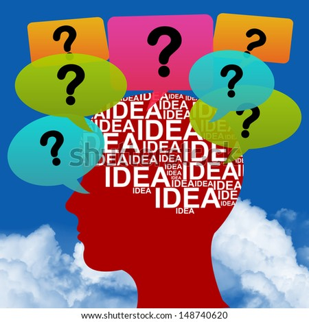 Business Idea Solution Concept Present by Red Head With Idea in Brain and Colorful Question Balloon Around in Blue Sky Background - stock photo