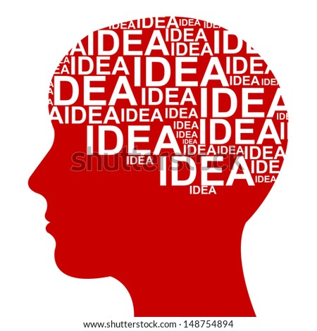 Business Idea Solution Concept Present by Red Head With Idea Text in Brain Isolated on White Background  - stock photo