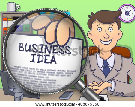 Business Idea through Lens. Businessman Holds Out a Paper with Inscription. Closeup View. Multicolor Modern Line Illustration in Doodle Style. - stock photo