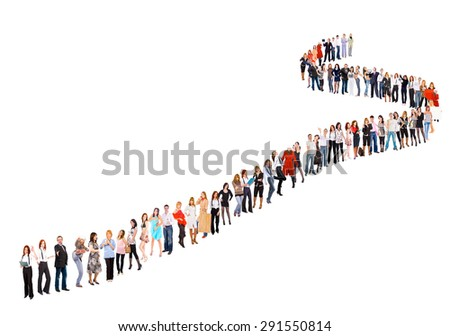 Business Idea Very Long Line  - stock photo