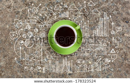 Business ideas and sketch on cement wall - stock photo