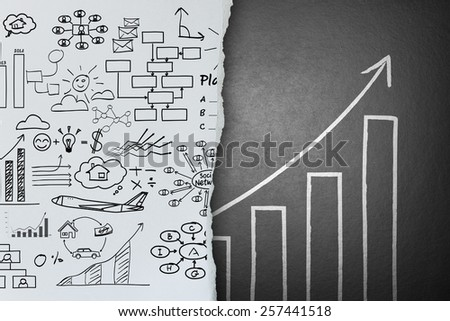 Business ideas sketch on paper background change to success concept