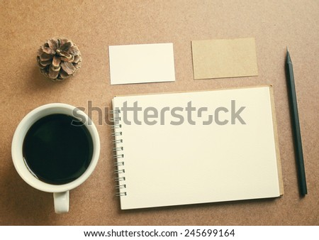 Business identity branding set and coffee with retro filter effect - stock photo