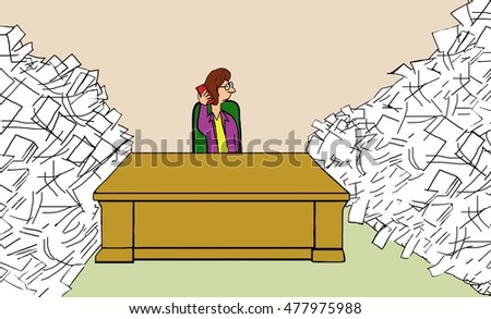 Business illustration of businesswoman avoiding all the paperwork she has to do by talking on her cell phone.