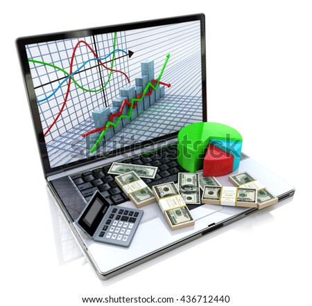 Business improvement and finance success analyzing concept. Laptop with charts, money and electronic calculator on keyboard. 3d image. 3d illustration - stock photo