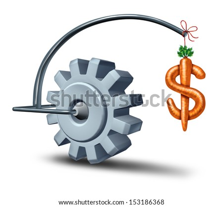 Business incentives as a financial metaphor as a stick and carrot shaped as a dollar sign leading a gear or cog wheel to wealth as a symbol of perks motivating and attracting new growth investment. - stock photo