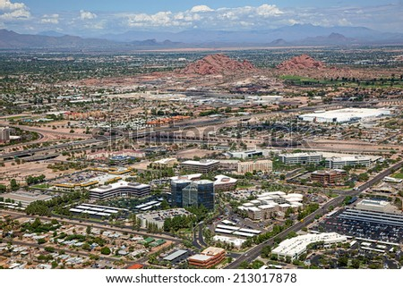 Business, Industrial landscape from above in the southwest desert - stock photo