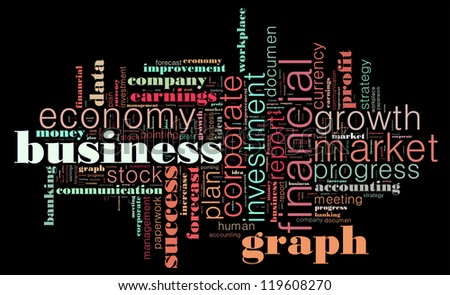 business info-text graphics arrangement concept composed in words cloud on black background