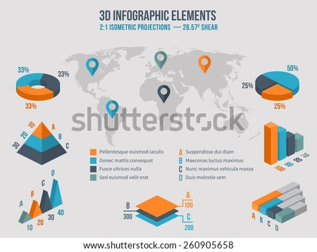 Business infographics elements. 3d charts and graphic and diagram on world Map - stock photo