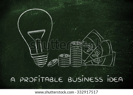 business innovation and profitable ideas: lightbulb next to coin stacks and cash