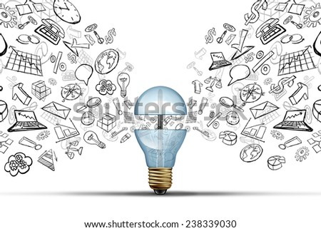 Business innovation ideas concept as an open light bulb with financial and office icons being released as a communication success symbol for marketing strategy solutions. - stock photo