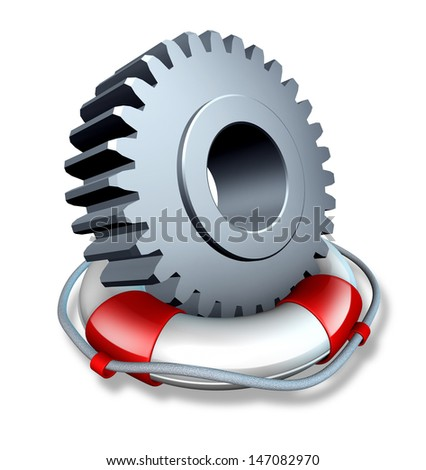 Business insurance concept and company owner protection as a gear or cog wheel in a lifesaver or life belt as a lifeline icon of financial risk or security from hazards as flooding fire and burglary. - stock photo