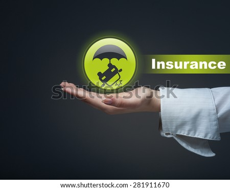 Business insurance concept. Man holding a symbol of accident insurance, insurance against crash. - stock photo