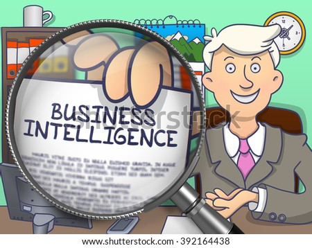 Business Intelligence. Businessman Welcomes in Office and Showing through Magnifying Glass Paper with Inscription Business Intelligence. Multicolor Doodle Style Illustration. - stock photo