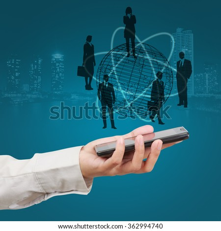 Business Intelligence  concept , businessman show on virtual screen - stock photo