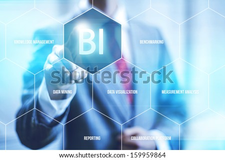 Business intelligence concept man pressing selecting BI - stock photo