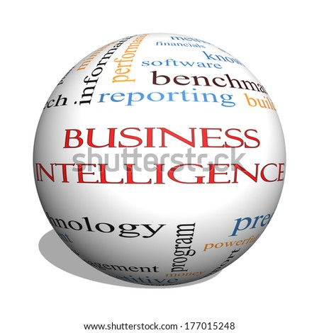 Business Intelligence 3D sphere Word Cloud Concept with great terms such as predictive, modeling, analytics and more.