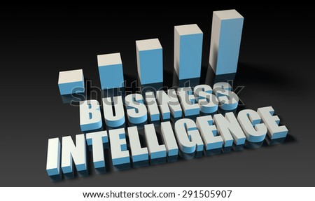 Business intelligence graph chart in 3d on blue and black
