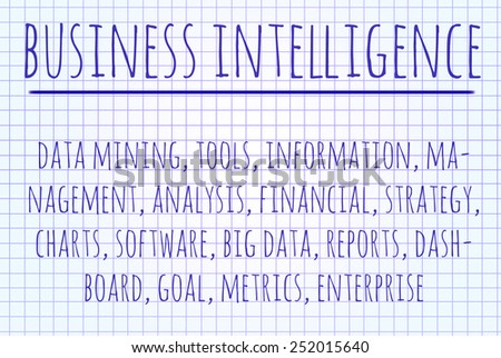 Business intelligence word cloud written on a piece of paper - stock photo