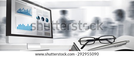 Business interface against business people listening during meeting - stock photo