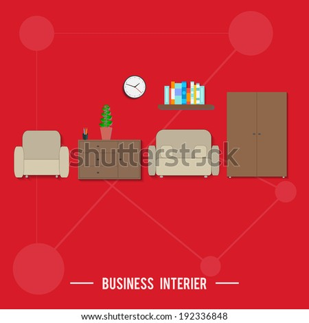 Business interior concept. Poster concept with icons of business interior via management and organization ideas symbol and workplace elements in flat design. Raster version - stock photo