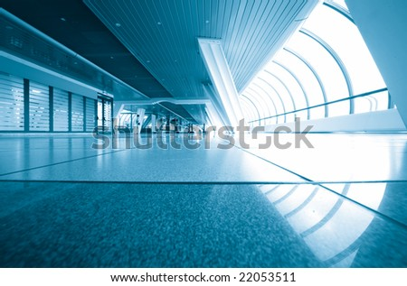 business interior from glass in blue - stock photo