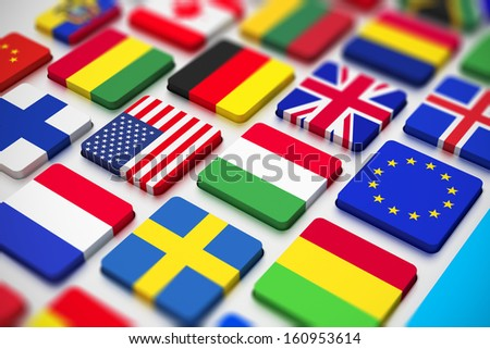 Business, international communication and cartography technology corporate office concept: close macro view of computer PC keyboard from colorful world countries flags with selective focus effect - stock photo