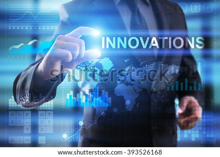 Business, Internet and technology concept.  Businessman select Innovations. - stock photo