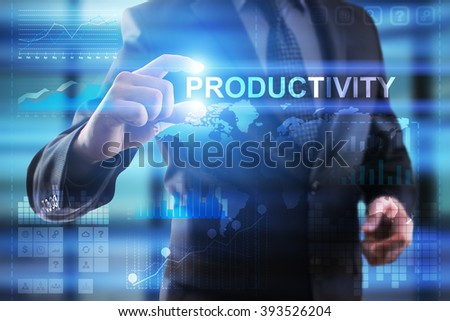 Business, Internet and technology concept.  Businessman select Productivity.  - stock photo