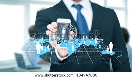business, internet and technology concept - businessman showing smartphone and social or businessnetwork on screen - stock photo