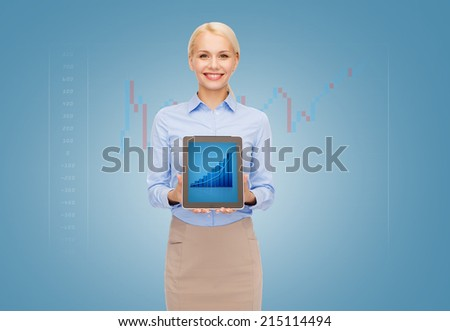 business, internet and technology concept - businesswoman showing tablet pc computer screen with graph - stock photo