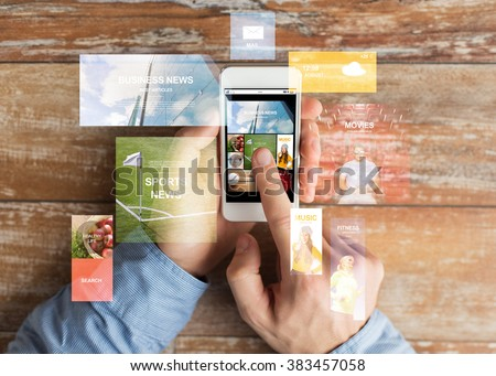 business, internet, mass media, people and technology concept - close up of male hands holding smartphone and pointing finger to web pages screen - stock photo