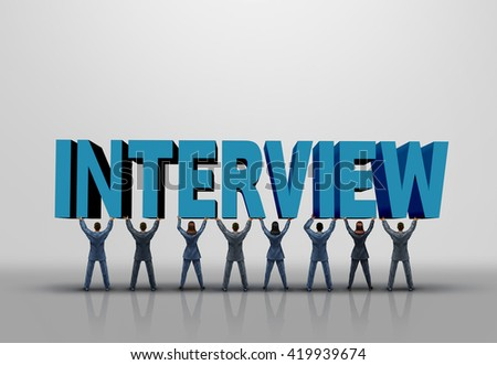 Business interview concept and career planning symbol as a group of men and women lifting up a 3D illustration text as a human resources and employment symbol. - stock photo