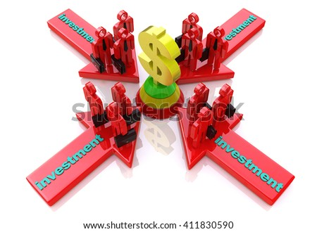 Business investment in the design of information related to business and economy.3D illustration