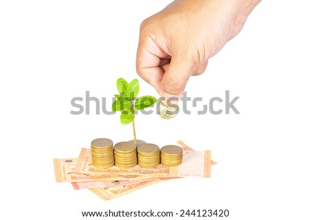 Business, investment or education saving concept - Hand putting coins to add to the growing investment fund isolated on white. - stock photo