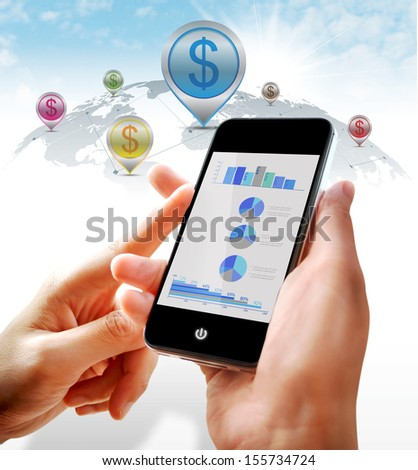 Business investment with statistics on mobile - stock photo