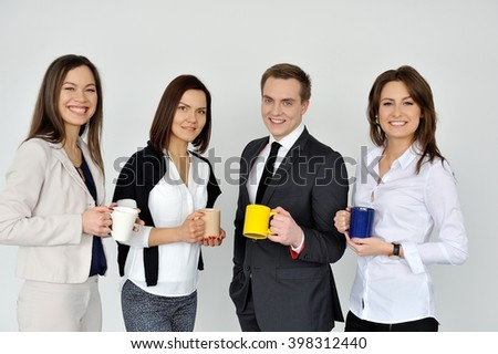 Business is good. Keep calm and drink coffee.  - stock photo