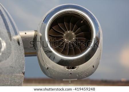 Business jet engine close up - stock photo