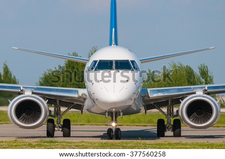 Business Jet with the two jet engines, front view. business, travel concept