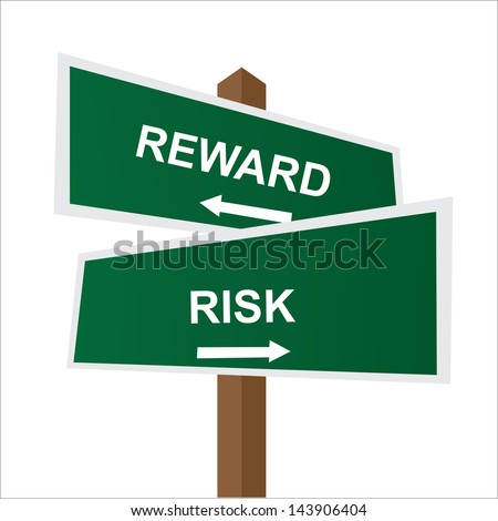 Business, Job Career or Financial Concept Present By Green Two Way Street or Road Sign Pointing to Reward and Risk Isolated on White Background - stock photo