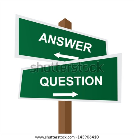 Business, Job Career or Financial Concept Present By Green Two Way Street or Road Sign Pointing to Answer and Question Isolated on White Background - stock photo