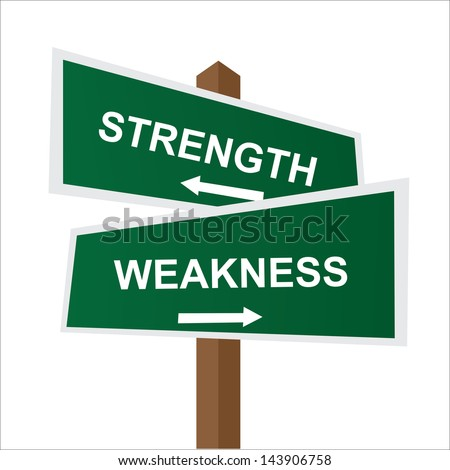 Business, Job Career or Financial Concept Present By Green Two Way Street or Road Sign Pointing to Strength and Weakness Isolated on White Background - stock photo