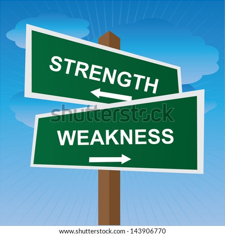 Business, Job Career or Financial Concept Present By Green Two Way Street or Road Sign Pointing to Strength and Weakness in Blue Sky Background - stock photo