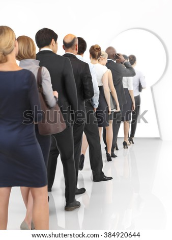 Business key to success concept. Group of business people with different ethnicity and gender walking to a key hole doorway .  - stock photo
