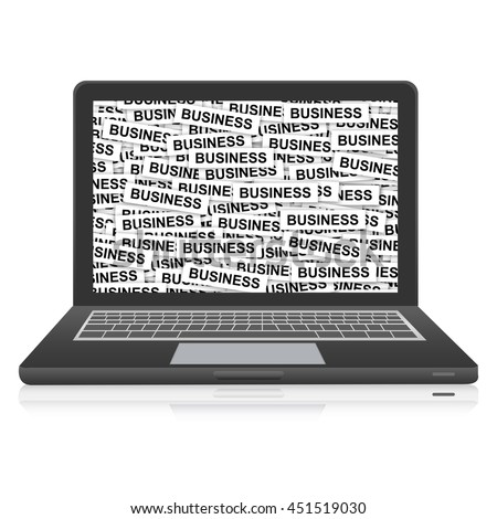 Business Label on Computer Laptop Monitor Screen Isolated on White Background