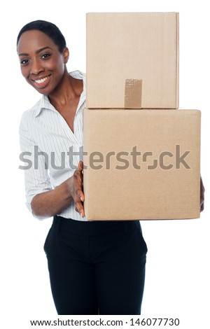 Business lady carrying cartons