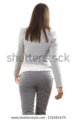 Business lady leaves. White isolated background